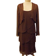 Vintage 80s Patra Chocolate Brown Chiffon Evening Dress Size 10