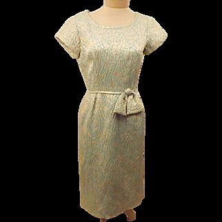 50's Green Short Sleeve Evening  Dress Size 6