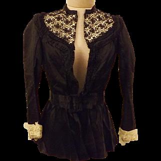 Original Victorian Black Satin Lace Blouse Size XS