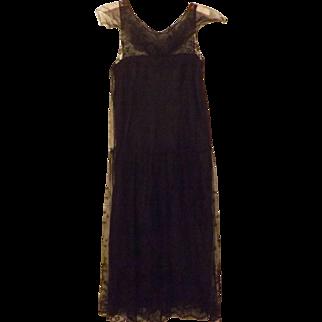 20's Black Satin Lace Flapper Style Dress Size 2