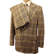 Corbin Ltd Windowpane Check Plaid Men's Suit Size 40