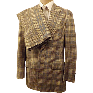 Corbin Ltd Windowpane Check Plaid Men's Suit Size 40