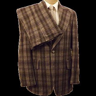 Martinelli 3 pc Gray Windowpane Plaid Suit Size 40