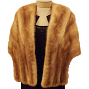60's Vintage Honey Blond Mink Fur Stole or Cape
