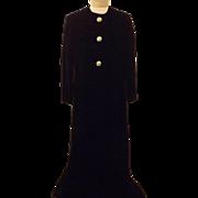 40's Black Velvet Full Length Cape Opera Coat Size L