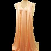 Vintage Pink Nylon Lace Peignoir Set Size 12