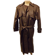 80's Men's Full Length Leather Trench Coat.  Size 40