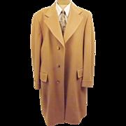 Vintage Men's Camel Hair Top Coat Over Coat Size 46