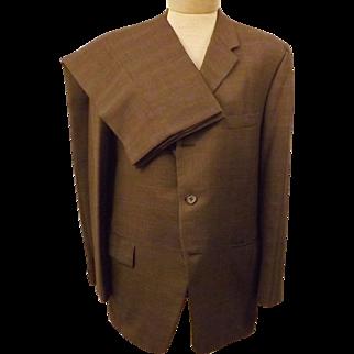 60's Vintage Langrock Princeton Brown Wool Men's Suit Size 40