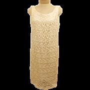 70s Hand Crochet Ivory Simple Elegant Wedding Dress Size 6 / 8