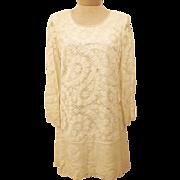 60's Handmade White Crochet BoHo Short Wedding Dress Size 6 / 8