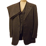 40's Rogers Peet Gray Pin Stripe 3 pc Suit Button Trouser Size 41