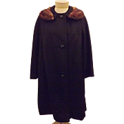 50s Women's Black Top Coat Mink Fur Trimmed Collar  Size XL