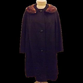 50s Women's Black Top Coat Mink Fur Trimmed Collar  Size XL