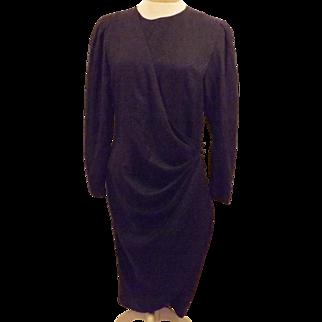 Designer Adrianna Papell Black Silk Wrap Evening Dress Size 8