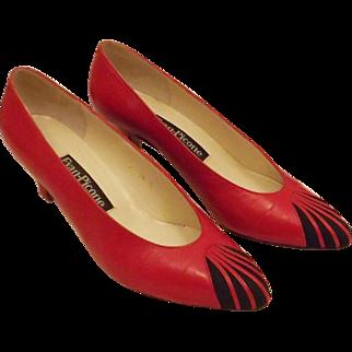 Vintage 70's Evan Picone Red Kitten Heel Pumps Size 7 1/2