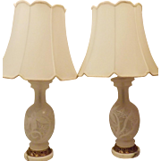 Mid Century Hand Painted Frosted Glass Table Lamps
