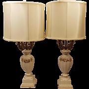 Vintage French Porcelain Candelabra Lamps w Original Shades