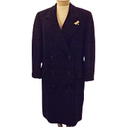 60's Navy Blue Cashmere Double Breasted Women's Over Coat Size XL