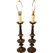 Pair Vintage Westwood Solid Brass Ornate Table Lamps