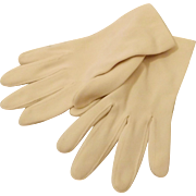 60's Women's Ivory Nylon Wrist Gloves Formal Evening Gloves Size 7