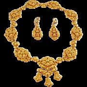 GEORGIAN Repoussé 18 Karat Gold Necklace and Earrings -- Rare and Original