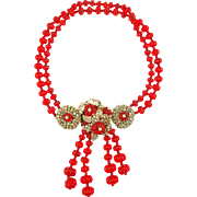 Book Piece -- MIRIAM HASKELL Red Holiday Necklace