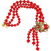 Book Piece -- MIRIAM HASKELL Red Holiday Bracelet