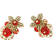 Book Piece -- MIRIAM HASKELL Red Holiday Earrings