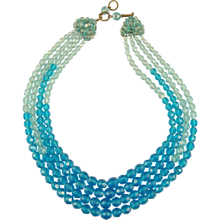 COPPOLA E TOPPO Blue, Faceted Glass Necklace