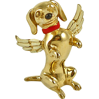 Adorable Angel Dog Brooch by CASTLEMARK