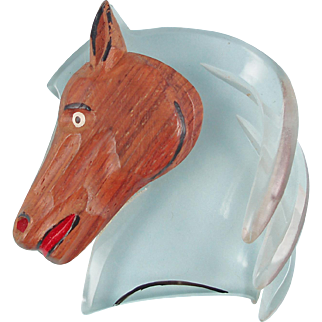 1940s Wood/Lucite Horse Head Brooch