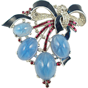 TRIFARI Alfred Philippe Brooch/Fur Clip with Faux Star Sapphire Cabochons and Enamel Bow