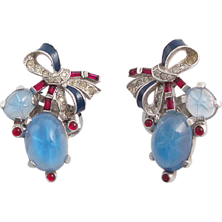 TRIFARI Alfred Philippe Earrings with Faux Star Sapphire Cabochons and Enamel Bow