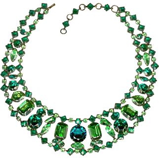 SCHREINER Necklace with Various Shades of Green Rhinestones