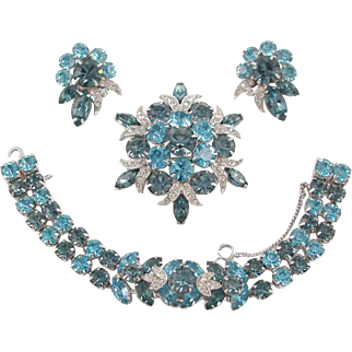 EISENBERG ICE 3-Piece Set - Sparkling Rhinestones Bracelet, Brooch and Earrings