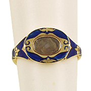 VICTORIAN Mourning Ring - 14 Karat Gold, Blond Hair and Blue Enamel