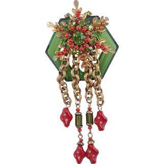 Book Piece: MIRIAM HASKELL Green and Coral Glass Beads Dangle Brooch