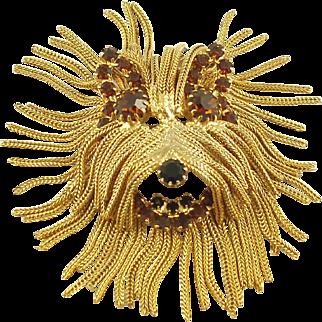 Gold-Tone and Rhinestone Fringed Dog Terrier Brooch