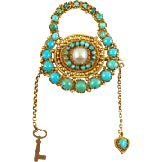 GEORGIAN Sentimental Brooch--Turquoise, Pearl and 15 Karat Gold
