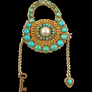 GEORGIAN Sentimental Brooch--Turquoise, Pearl and 15 Karat Gold