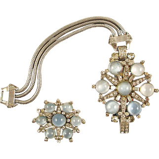 MAZER Retro Faux Moonstone Sterling Bracelet and Brooch