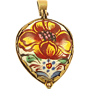 17th Century Floral Enameled Heart with Fragrance Compartment