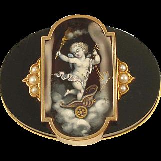 VICTORIAN Enamel Cupid (Eros) Brooch Set in Onyx with Pearls