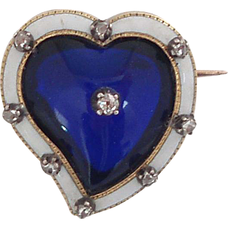 VICTORIAN Diamond, Blue Glass and Enamel Witch's Heart Brooch