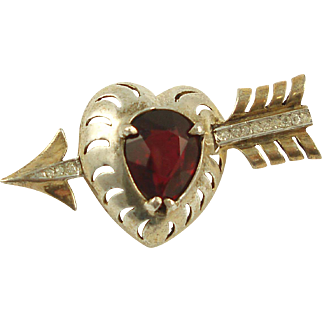 REJA Sterling Red Rhinestone Heart and Arrow Brooch