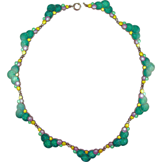 Deco Teal Green and Colorful Enamel Bubbles Necklace
