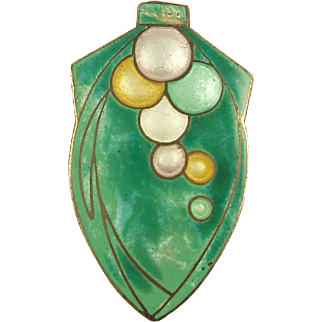 Deco Teal Green and Colorful Enamel Bubbles Brooch
