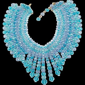 Coppola e Toppo Massive Blue and Lavender Crystal Bead Necklace / Bib