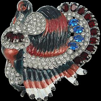 Rare Staret Enameled Turkey Brooch